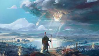 панорама, небо, метеорит, воин, щит, копье