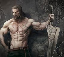 мужчина, шрамы, ремень, меч