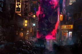 дома, развалины, человек, улица, огни