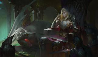 меч, дракон, фон, униформа, принц, дракон, мужчина