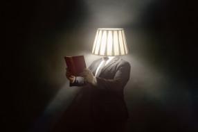 юмор и приколы, лампа, книга, человек