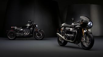 2019 triumph thruxton tfc & triumph rocket tfc, мотоциклы, triumph, мотоцикл, два, черный, thruxton, tfc