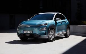 hyundai, корейские автомобили, электромобили, синий, вид спереди, электрический кроссовер