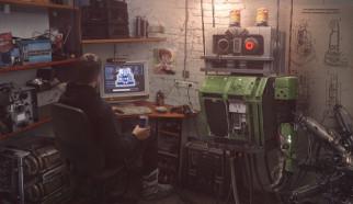 мастерская, парень, компьютер, техника, робот