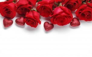 розы, красные, сердечки