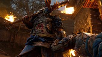 бой, самураи, крепость, огонь
