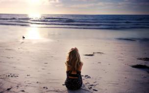 блондинка, платье, берег, море