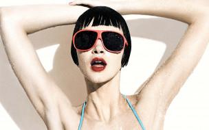 вода, очки, лицо, брюнетка, душ, Rachel Alexander