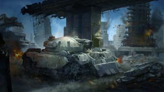 город, фон, танк