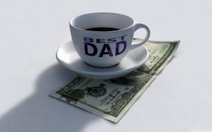 кофе, надпись, чашка, доллары