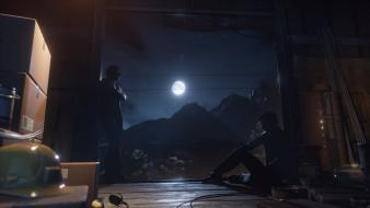 ночь, ящики, горы, луна, парни