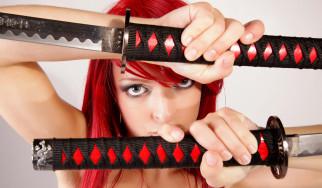 поза, взгляд, японский, девушка, cosplay, меч, модель, рыжеволосая, лезвие, самурай, макияж, красный