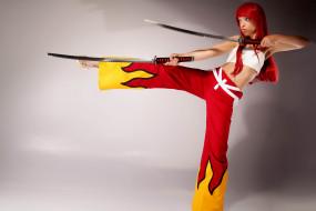 японский, меч, cosplay, модель, девушка, самурай, лезвие, рыжеволосая, взгляд, поза, макияж, красный