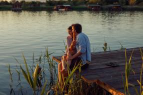 мужчина, влюбленные, пара, река, девушка
