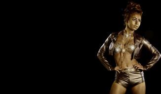 модель, девушка, cosplay, наряд, маска, поза, краска, золото, украшения