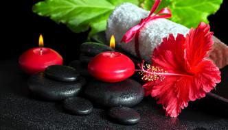 гибискус, свечи, камни