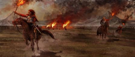униформа, факел, конь, пожар, поселок, фон, мужчины