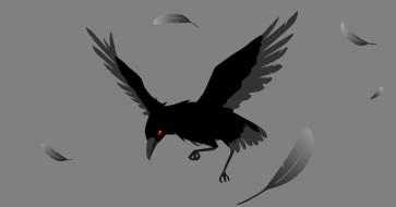 рисованное, животные, ворона
