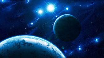 космос, арт, звезды, галактика, вселенная, планеты