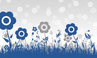 серый, фон, синий, цветы