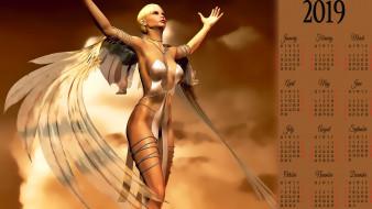 calendar, крылья, девушка