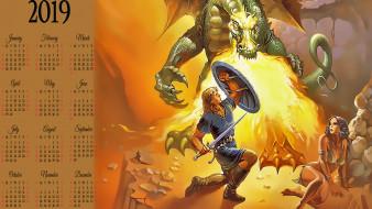 щит, calendar, оружие, пламя, огонь, женщина, мужчина, дракон