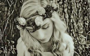 calendar, лицо, цветы, женщина, венок, девушка