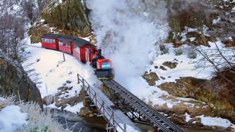 железная дорога, мост, поезд, огненная земля, ушуайя, аргентина, снег, патагония