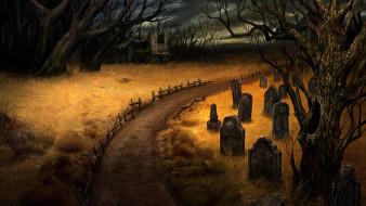 кладбище, надгробья, дорога, лес, развалины, могилы