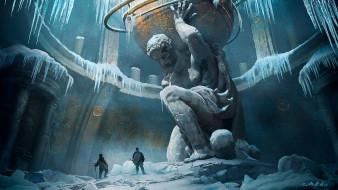 люди, лед, Атлант, статуя, снег, зал