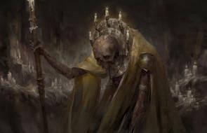 свечи, скелет, фон