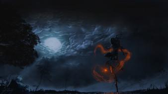 тучи, луна, болото, фонарь, фигура