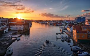 пристань, коммуна, причал, haugesund, губерния ругаланн, норвегия, rogaland, утро, город, восход солнца