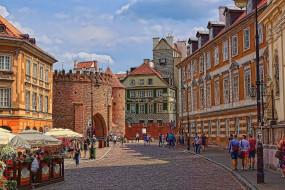 города, варшава , польша, кафе, крепость, улица