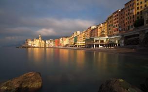 лигурия, генуя, италия, утро, пляж, восход солнца, средиземное море, камольи, побережье