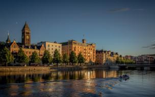 швеция, городской вид, вечер, шведский город, город, норрчепинг