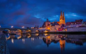 regensburg germany, города, - огни ночного города, regensburg, germany