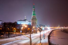 ночь, огни, Россия, Кремль, Москва, зима