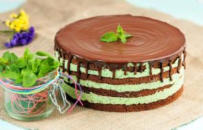 еда, торты, мята, торт, фисташковый
