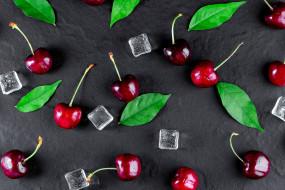 ягоды, лед, черешня