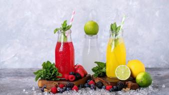 мята, сок, лед, цитрусы, ягоды