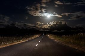 ночь, луна, дорога