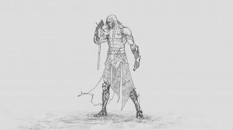 киборг, меч, скетч