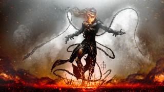 цепи, огонь, плащ, демон