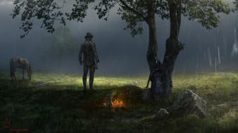 человек, дождь, лошадь, поляна, костер, дерево