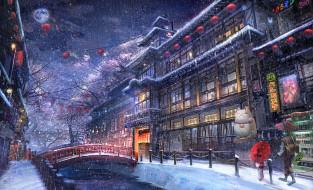 аниме, город,  улицы,  интерьер,  здания, фон, снег