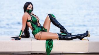 девушка, cosplay, модель, маска, зелёный, наряд, поза