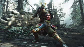 развалины, лес, самурай