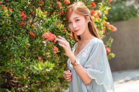 цветы, модель, азиатки, женщины, брюнетка, глубина резкости, наручные часы, длинные волосы