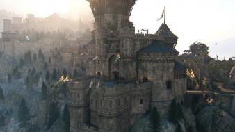 замок, крепость, флаги